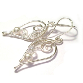Sterling Silver Wire Weave Leaf Bridal Earrings