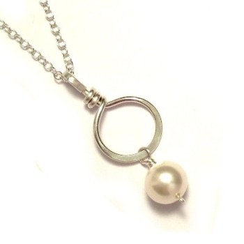 Pearl Drop Sterling Silver Circle Bridal Necklace