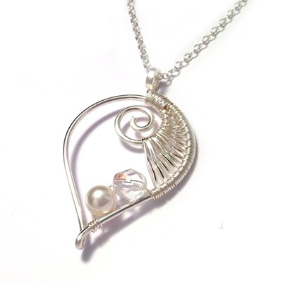 Sterling Silver Wire Weave Leaf Bridal Necklace Handmade