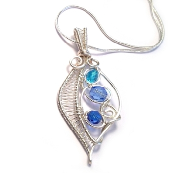 Wire Weave Leaf Pendant - Turquoise and Blue