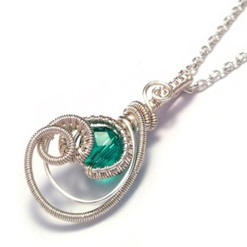Wire Wrapped Emerald Crystal Teardrop Pendant