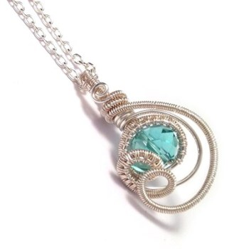 Wire Wrapped Sea Blue Crystal Teardrop Pendant