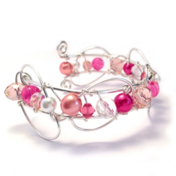 Coral and Raspberry Pink Cuff Bracelet