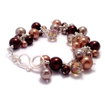 Pearl Cluster Bracelet - Brown, Copper & Cappuccino