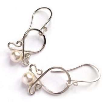 Sterling Silver Scroll Bridal Pearl Earrings