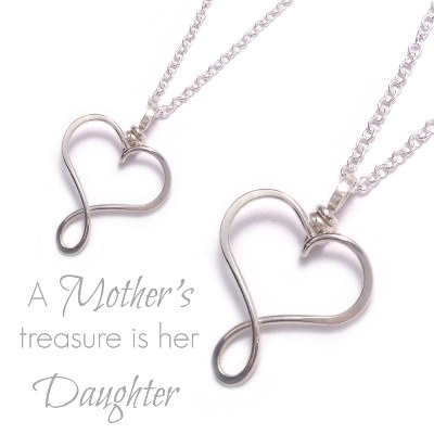 Mother Daughter Heart Necklace Set | Sterling Silver