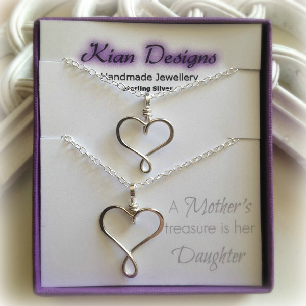 Mother daughter necklace set family necklaces mothers gifts mother and daughter necklace heart necklaces sterling silver 6a aloadofball Images