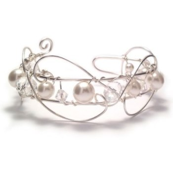 Crystal and Pearl Bridal Wire Cuff Bracelet