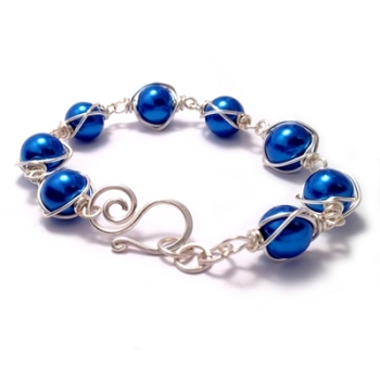 Wire Wrapped Pearl Bracelet - Cobalt Blue