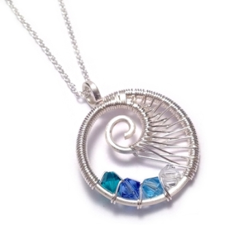 Family Birthstone Necklace - Wire Weave Sprial: 4-7 Crystals