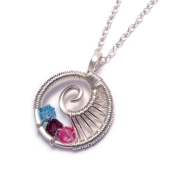 Family Birthstone Necklace - Wire Weave Sprial: 1-3 Crystals