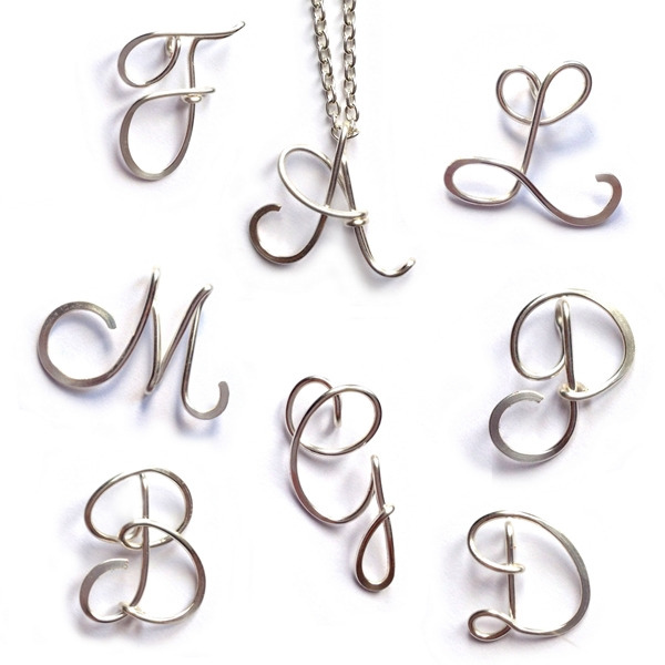 Sterling Silver Initials Ache 1 Personalised Initial Necklaces A