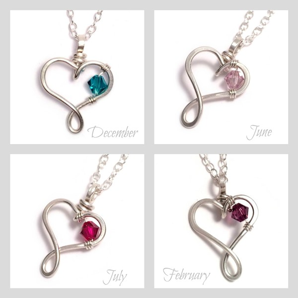 ... heart birthstone necklaces - collage ...