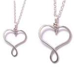 mother and daughter necklace - heart necklaces - sterling silver (5)