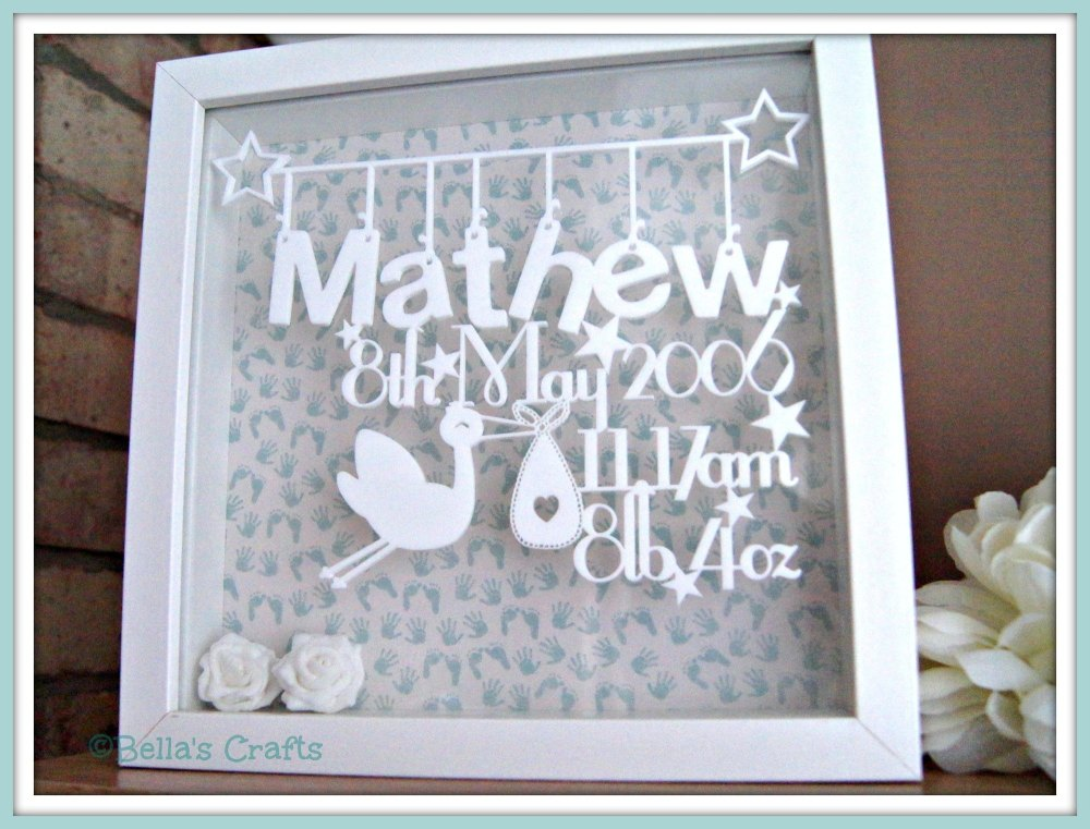 Personalised floating acrylic sign in a box frame.