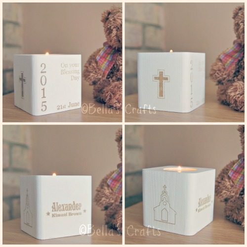 Personalised Christening wooden block with candle