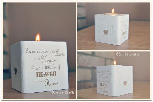 Engraved wooden block with candle