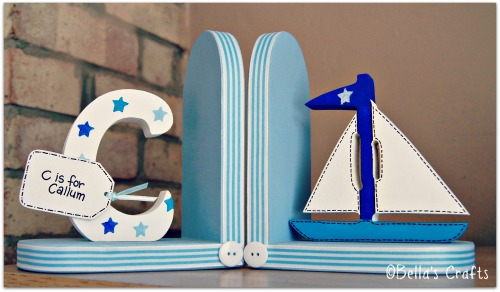 Initial and Sailing boat bookends
