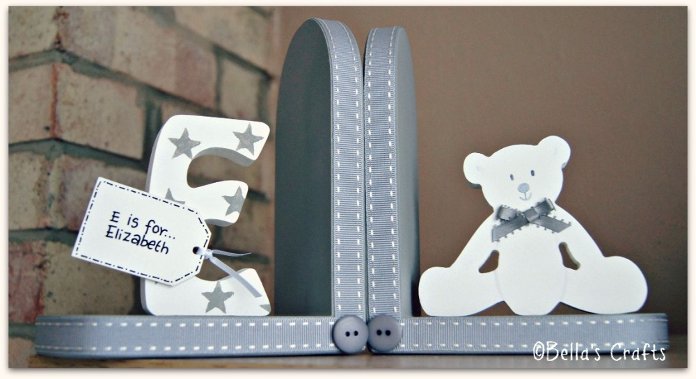 Initial and Teddy Bear bookends