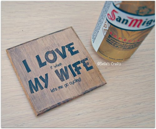 'I Love My Wife'  Bamboo Coaster