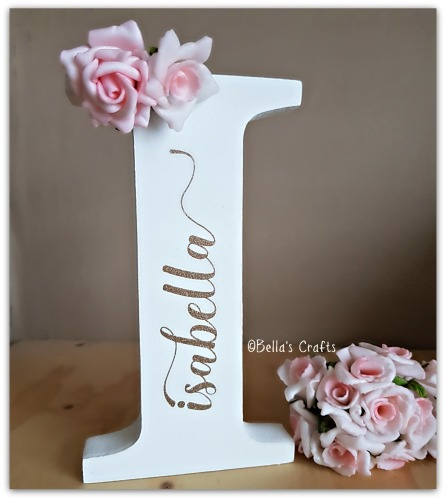Personalised free-standing letter with sparkly name