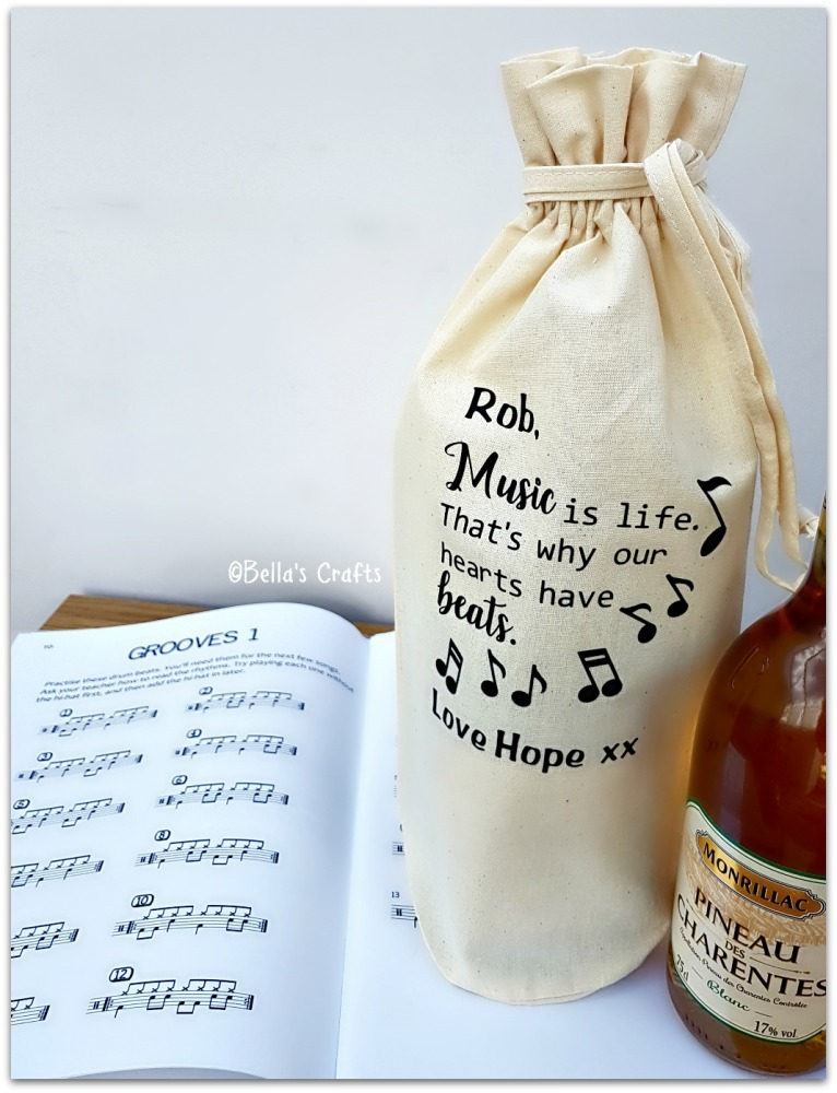 Personalised Music Teacher Wine Bottle Bag