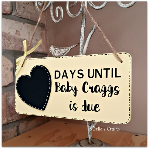 Baby countdown plaque with chalkboard heart