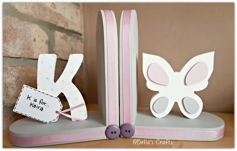 Personalised Butterfly bookends for children