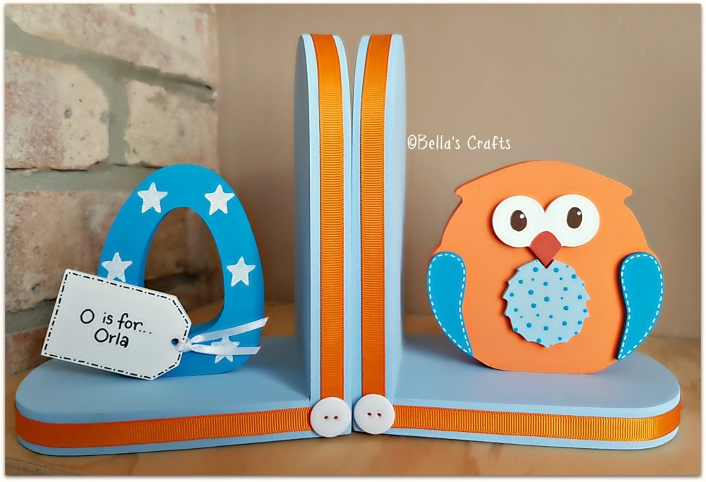 Initial and Owl bookends (Bright colours)