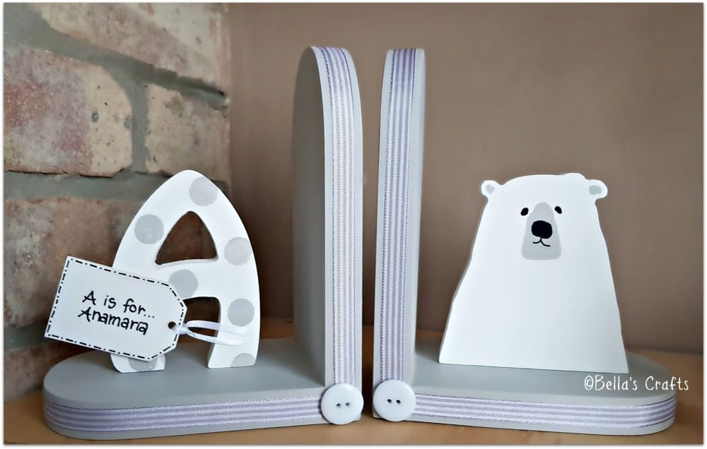 Initial and Polar Bear bookends