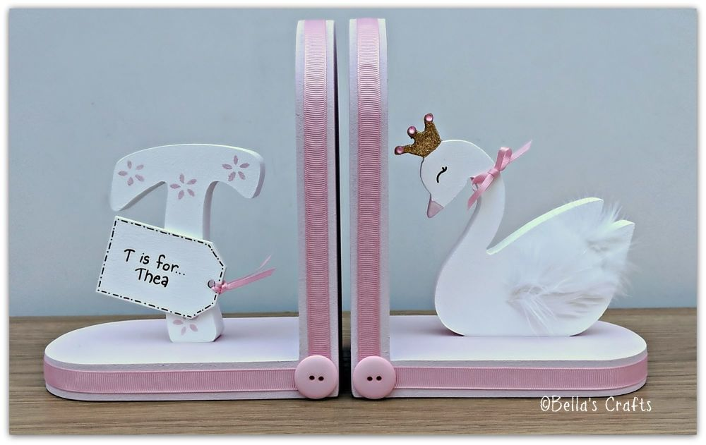 Initial and Swan Princess bookends
