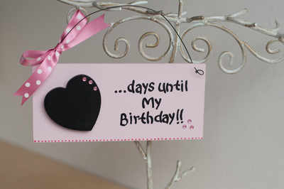 Birthday countdown plaque with chalkboard heart