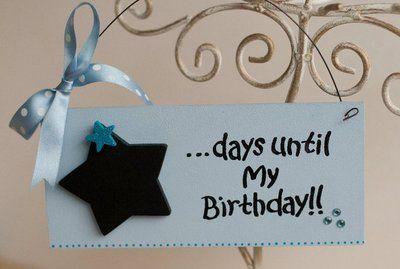 Birthday countdown plaque with chalkboard star