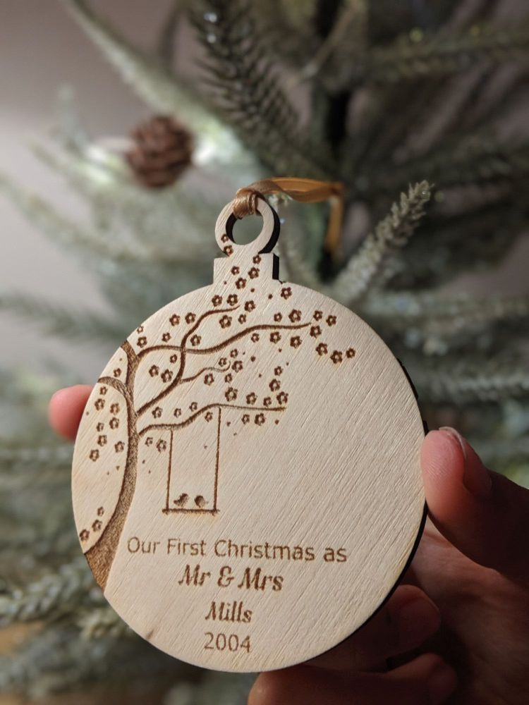Our First Christmas Wooden Bauble