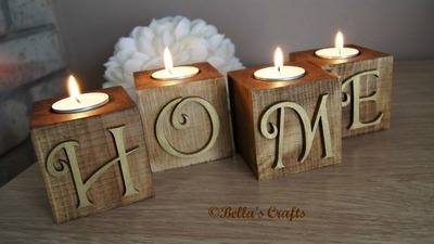 Wooden blocks with candle
