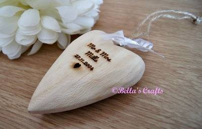 Engraved Chunky wooden heart