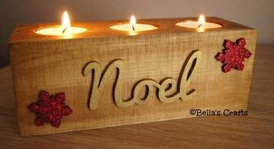 Long wooden block with candles