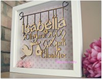Personalised floating wooden sign in a box frame.