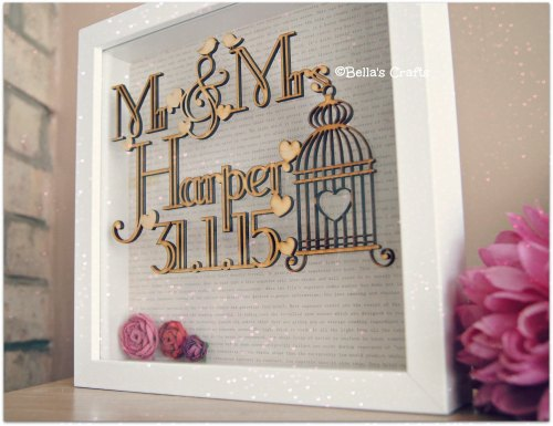 Personalised floating wooden sign in a box frame. Wedding/Engagement