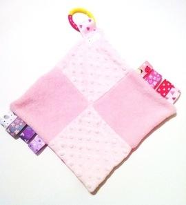 Pink Squares Tabby Sensory Blanket