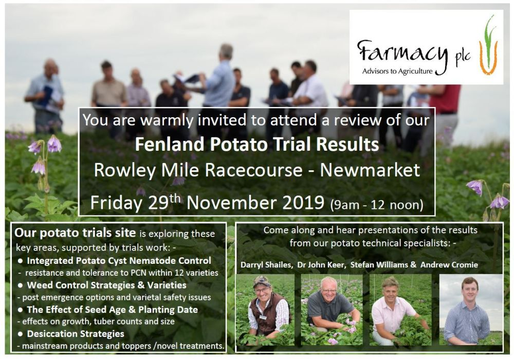 Fenland Potato Trial Results Invite - Farmacy 2019 Nov 29