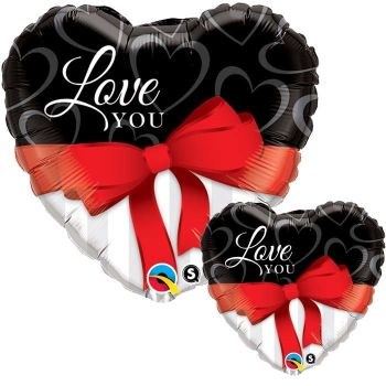 "Love You Red Ribbon - 18"" Foil Heart Balloon"