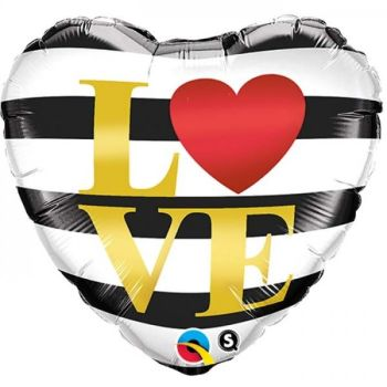 "L(Heart)VE Horizontal Stripes - 18"" Foil Heart Balloon"