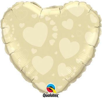 "Ivory Heart on Ivory - 18"" Foil Heart Balloon"