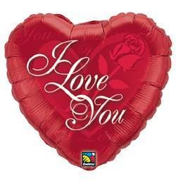 "I Love You Red Rose - 18"" Foil Heart Balloon"