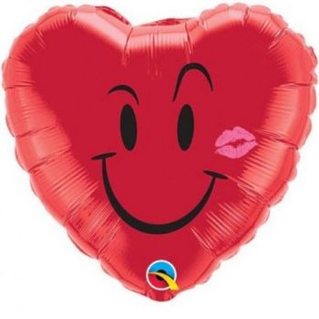 "Naughty Smile and Kiss Foil - 18"" Foil Heart Balloon"