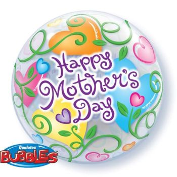 "Happy Mothers Day Curly Hearts - 22"" Clear Bubble Balloon"