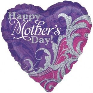 "Holographic Damask Heart Mothers Day - 18"" Foil Heart Balloon"