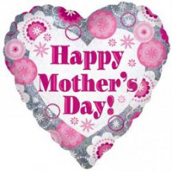"Holographic Pink Sparkle Heart Mothers Day - 18"" Foil Heart Balloon"
