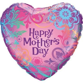 "Happy Mothers Day Pink Heart - 18"" Foil Heart Balloon"